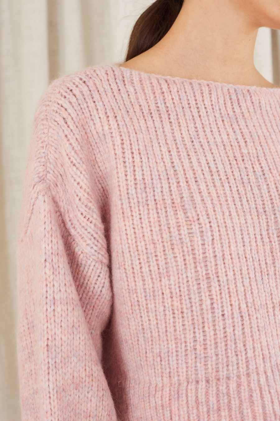 pink sweater with boat neckline