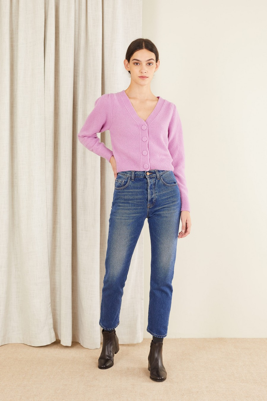 V-neck sweater with covered buttons