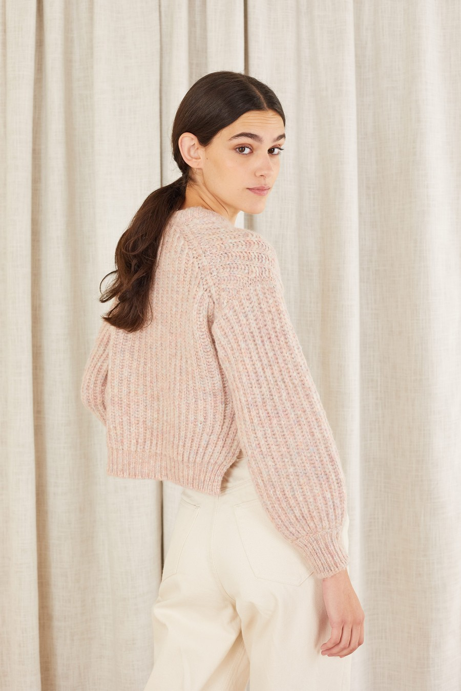 cropped sweater with side splits