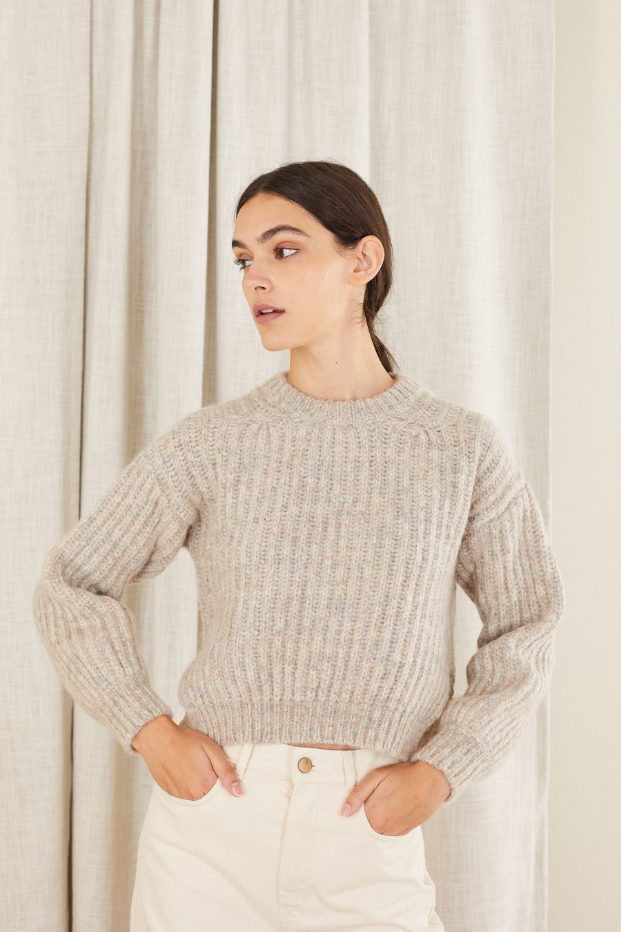 warm sweater with side splits