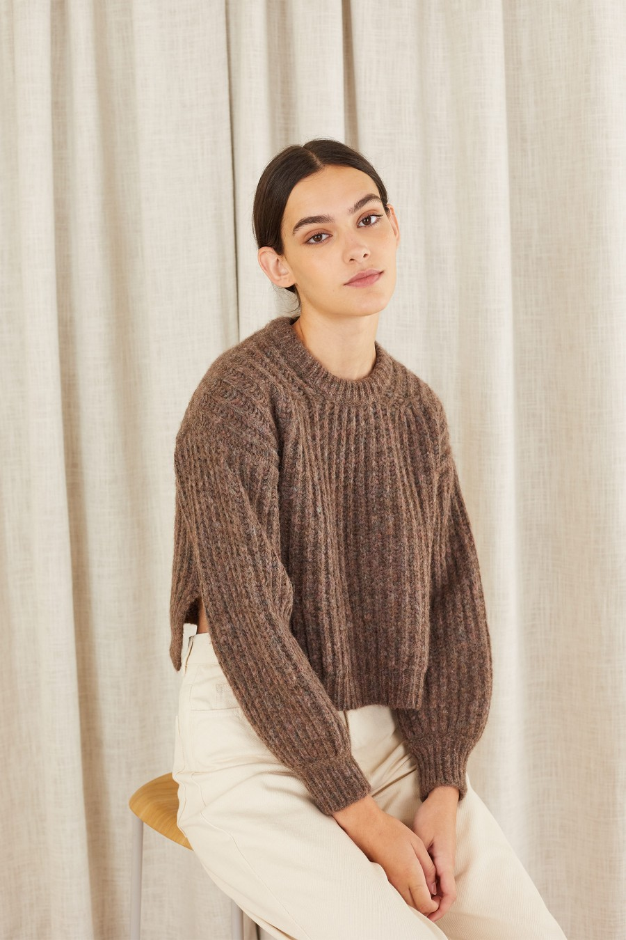 brown round-neck sweater