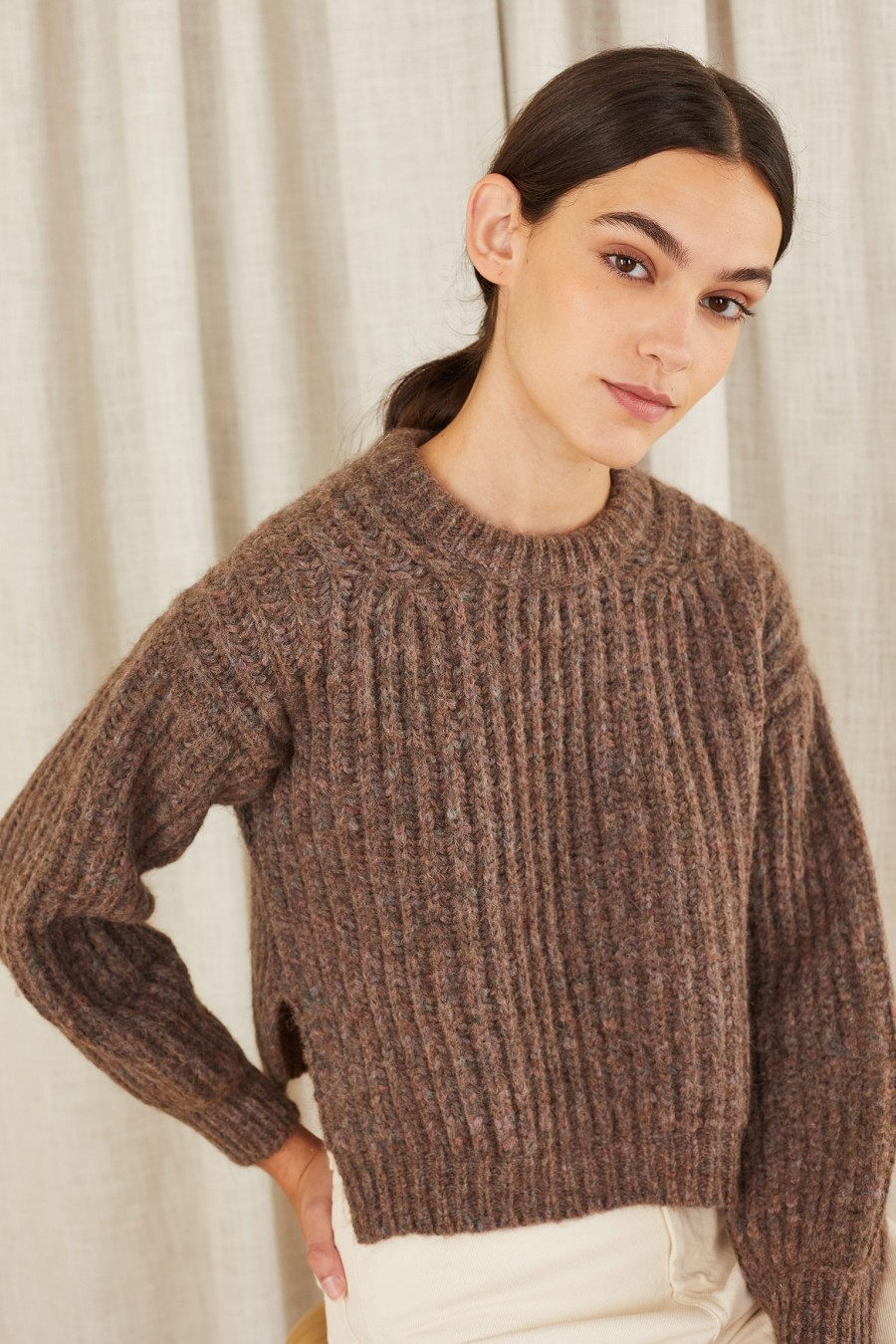 brown sweater with side splits