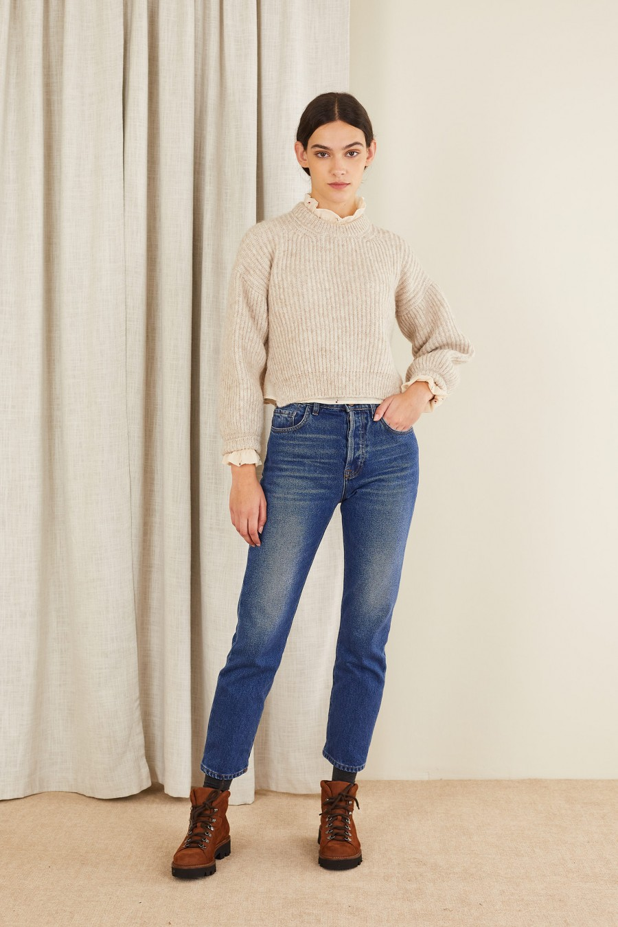 beige ribbed sweater with side splits