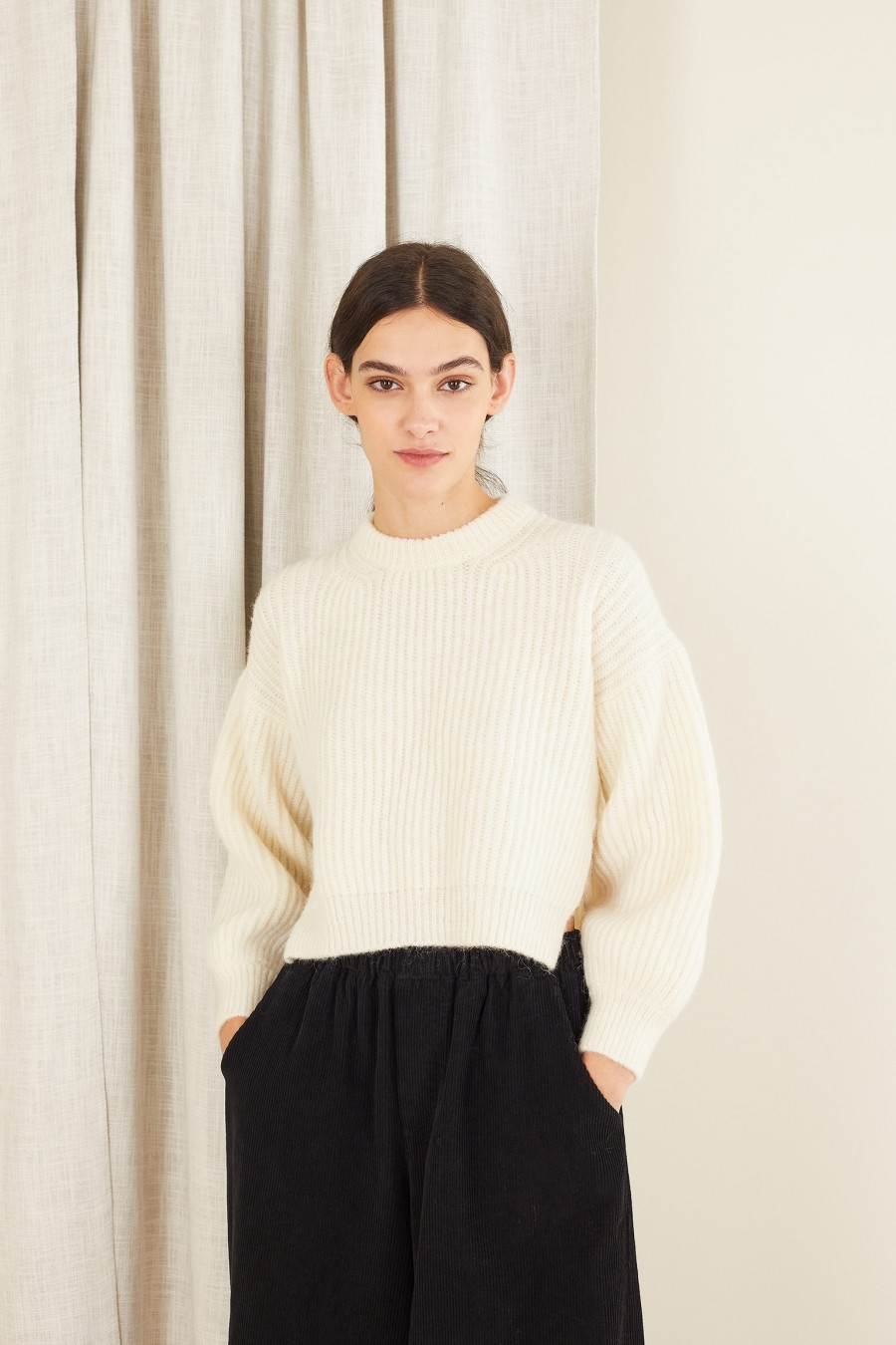 baby alpaca white sweater