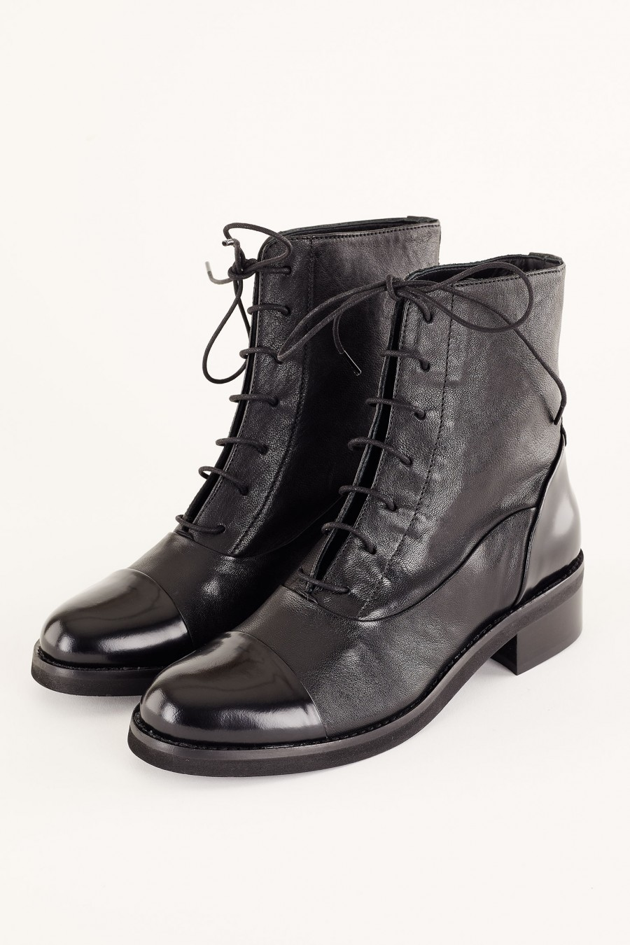 Bi-material lace-up ankle boots