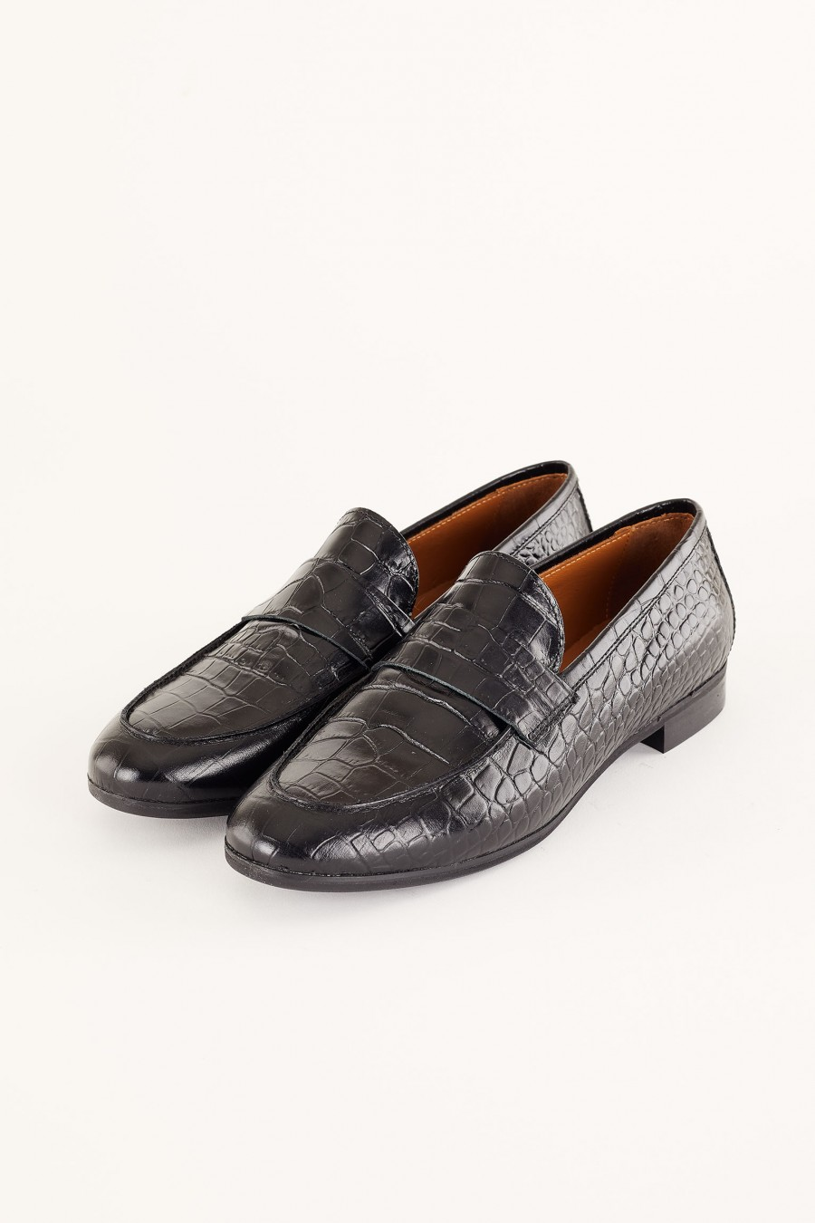 crocodile-print loafers