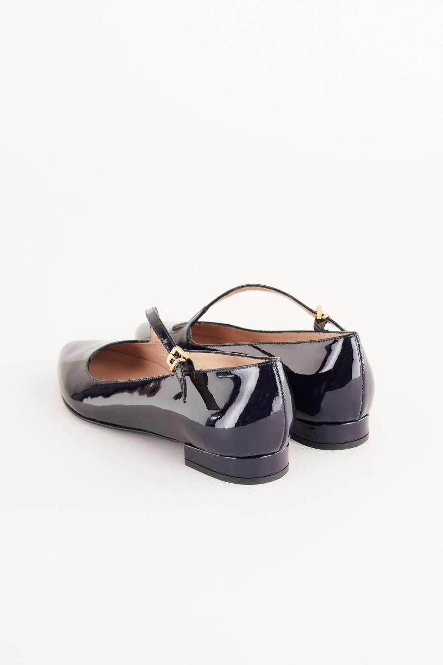 flats in blue patent leather