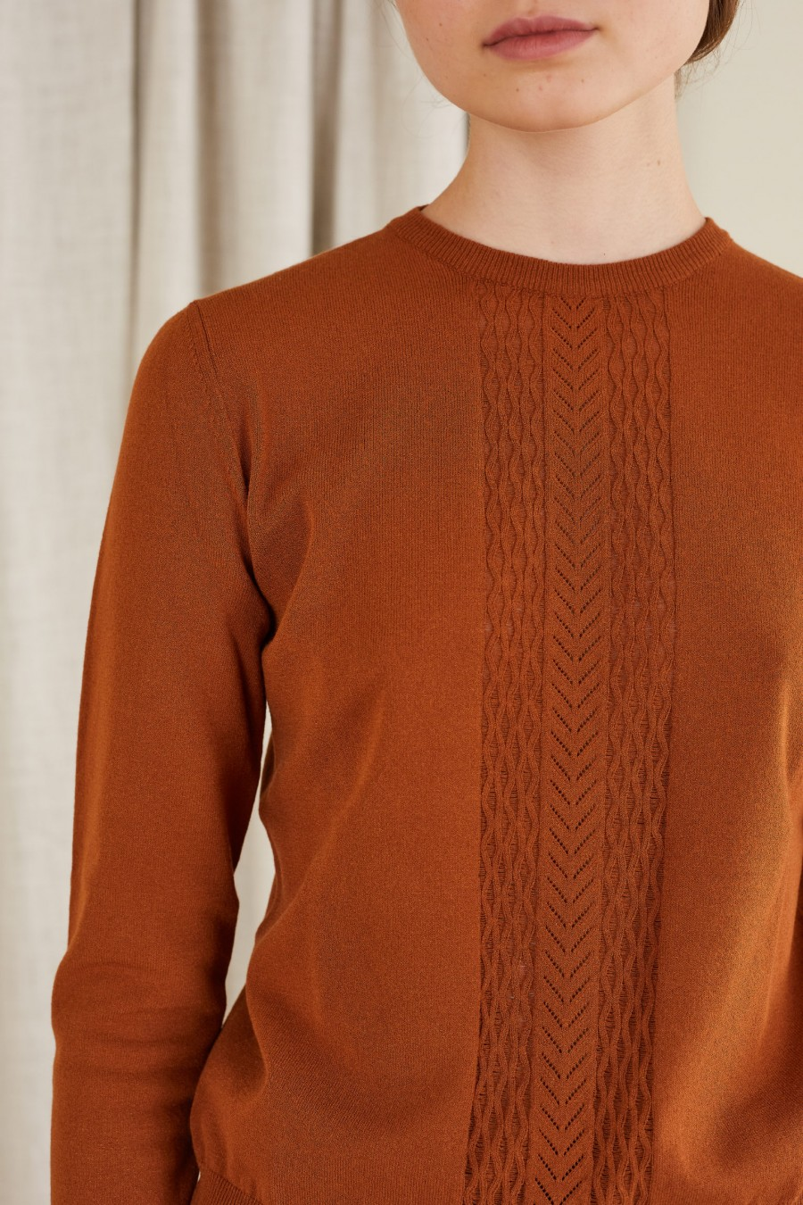 jumper with scalloped edges and cuffs