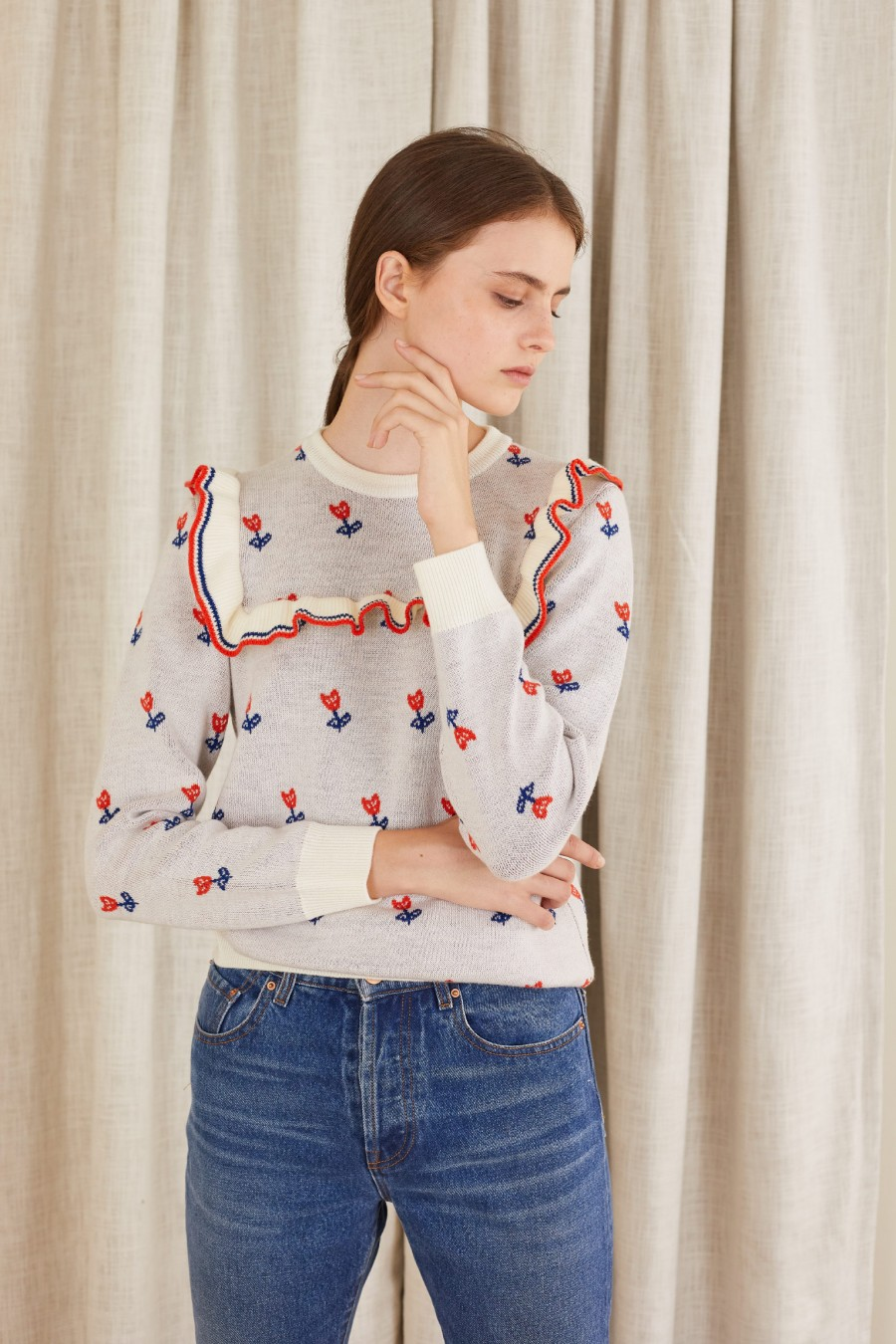 ruffle jumper with flowers