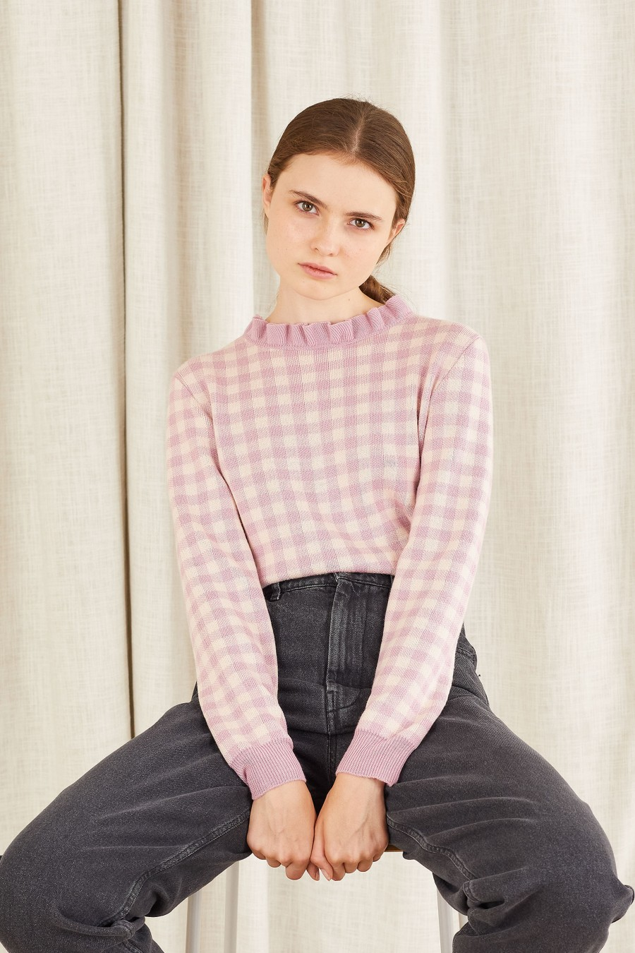 lilac and white checked jumper