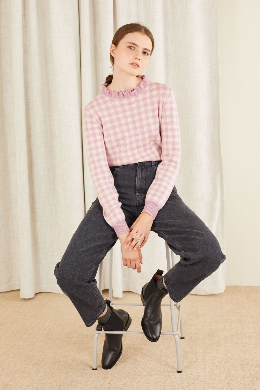 lilac gingham jacquard jumper with pie crust collar