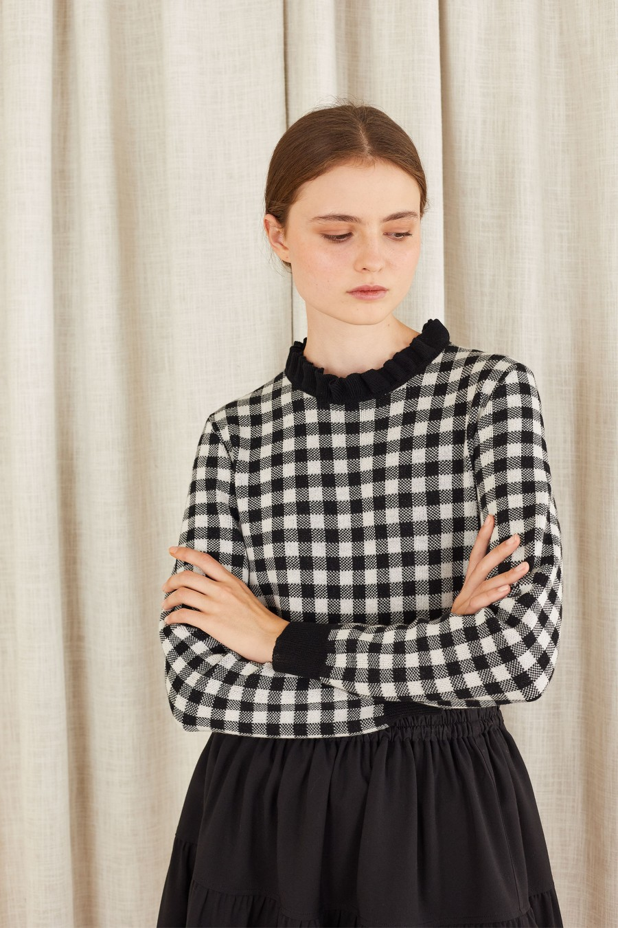 Gingham jacquard jumper with pie crust collar