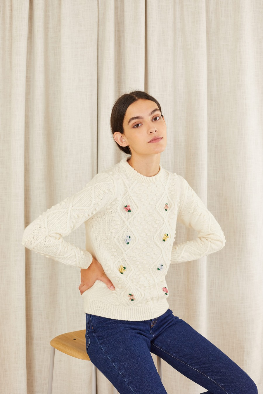 Hand-embroidered knitted jumper