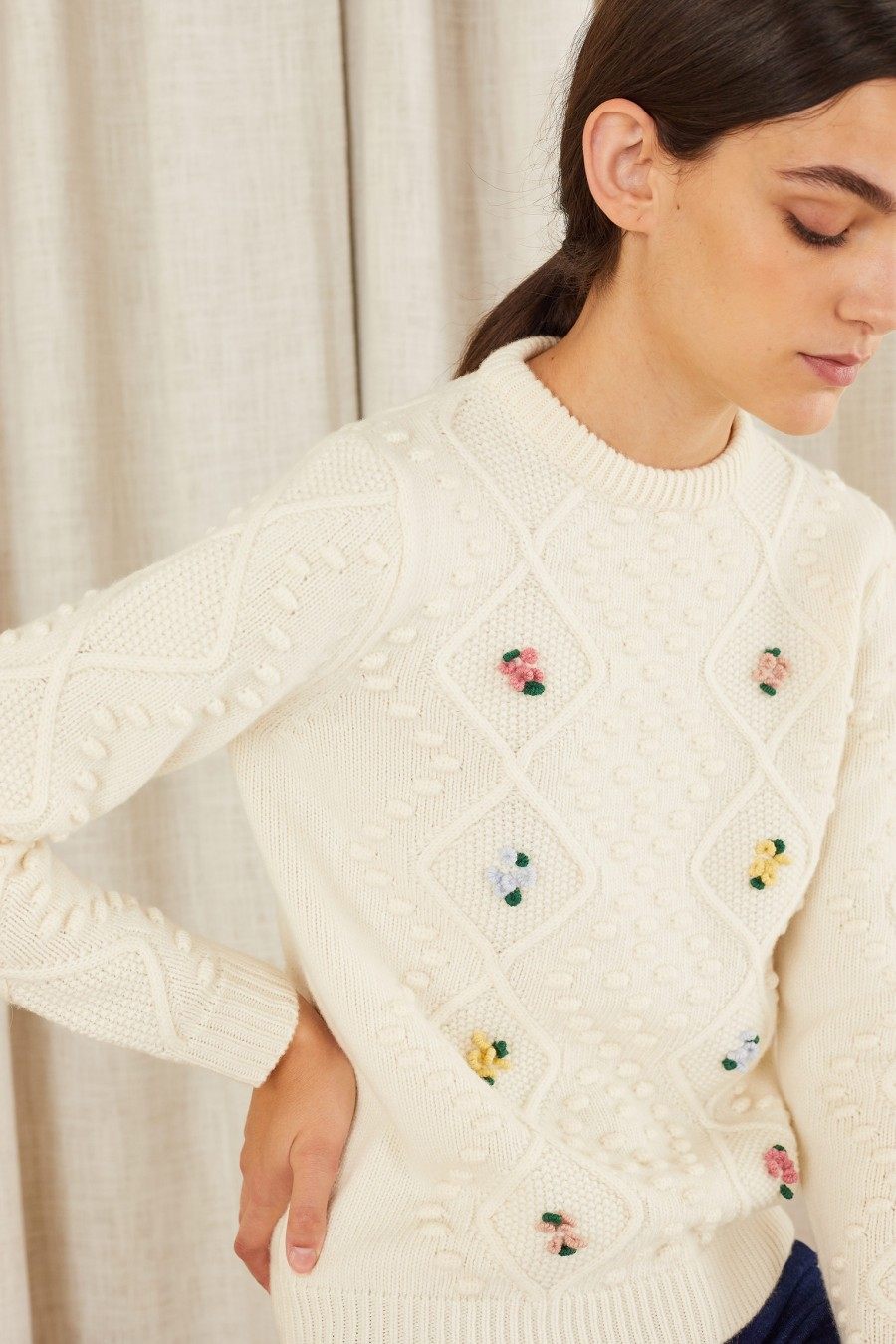 jumper with hand-embroidered flowers