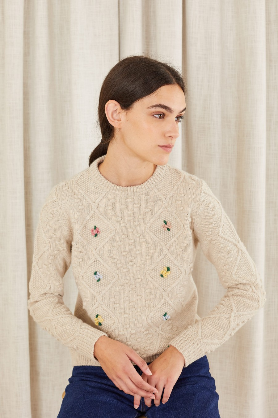 dove grey hand-embroidered knitted sweater