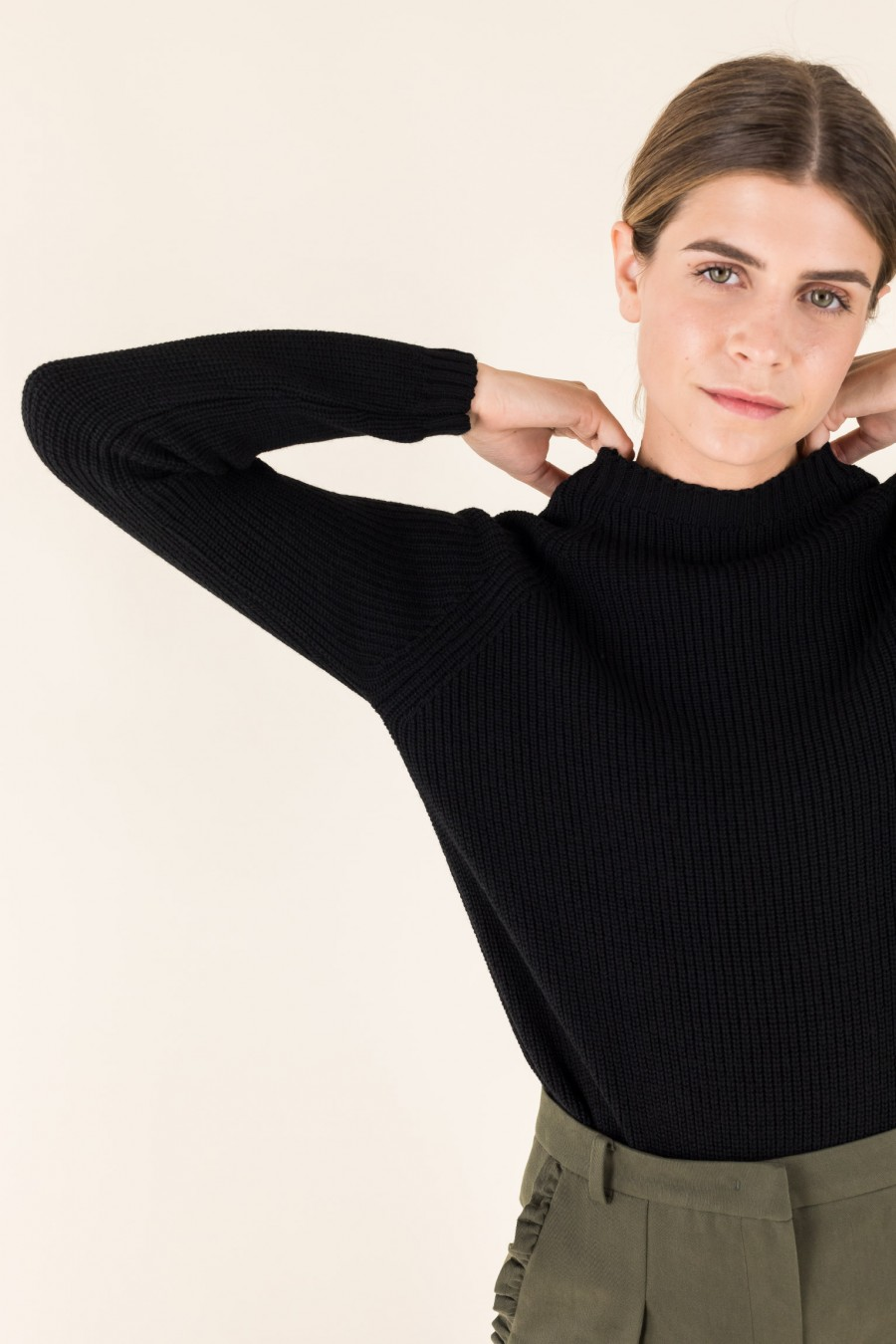 Black pullover with volcano collar