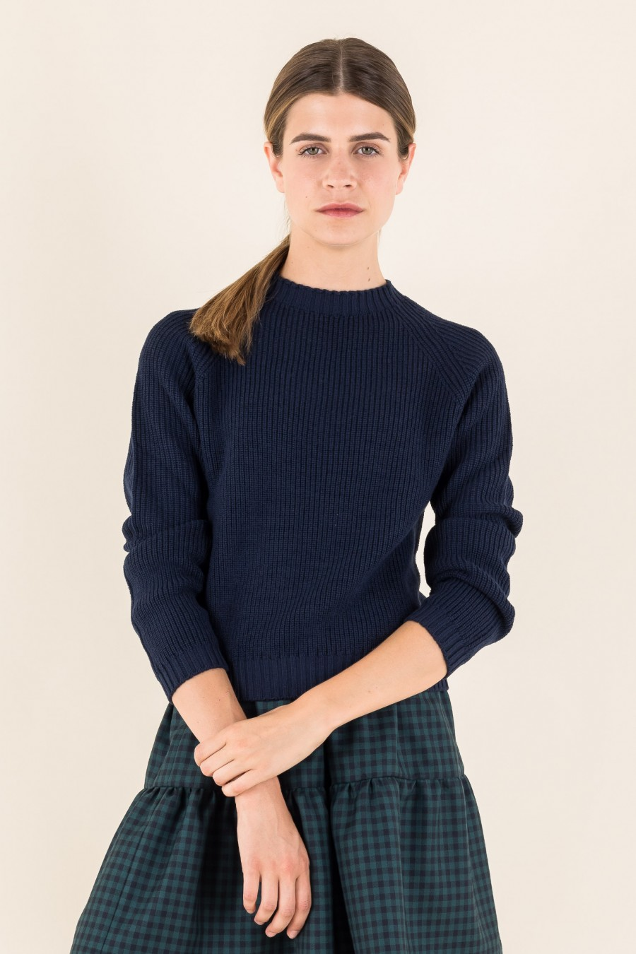 Cropped blue pullover