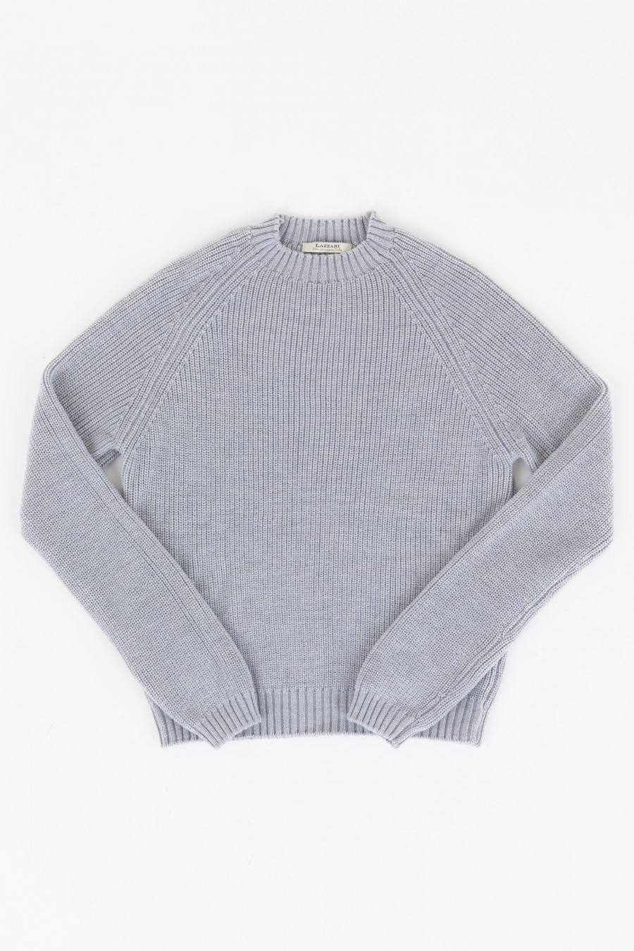 Wool grey sweater with volcano collar