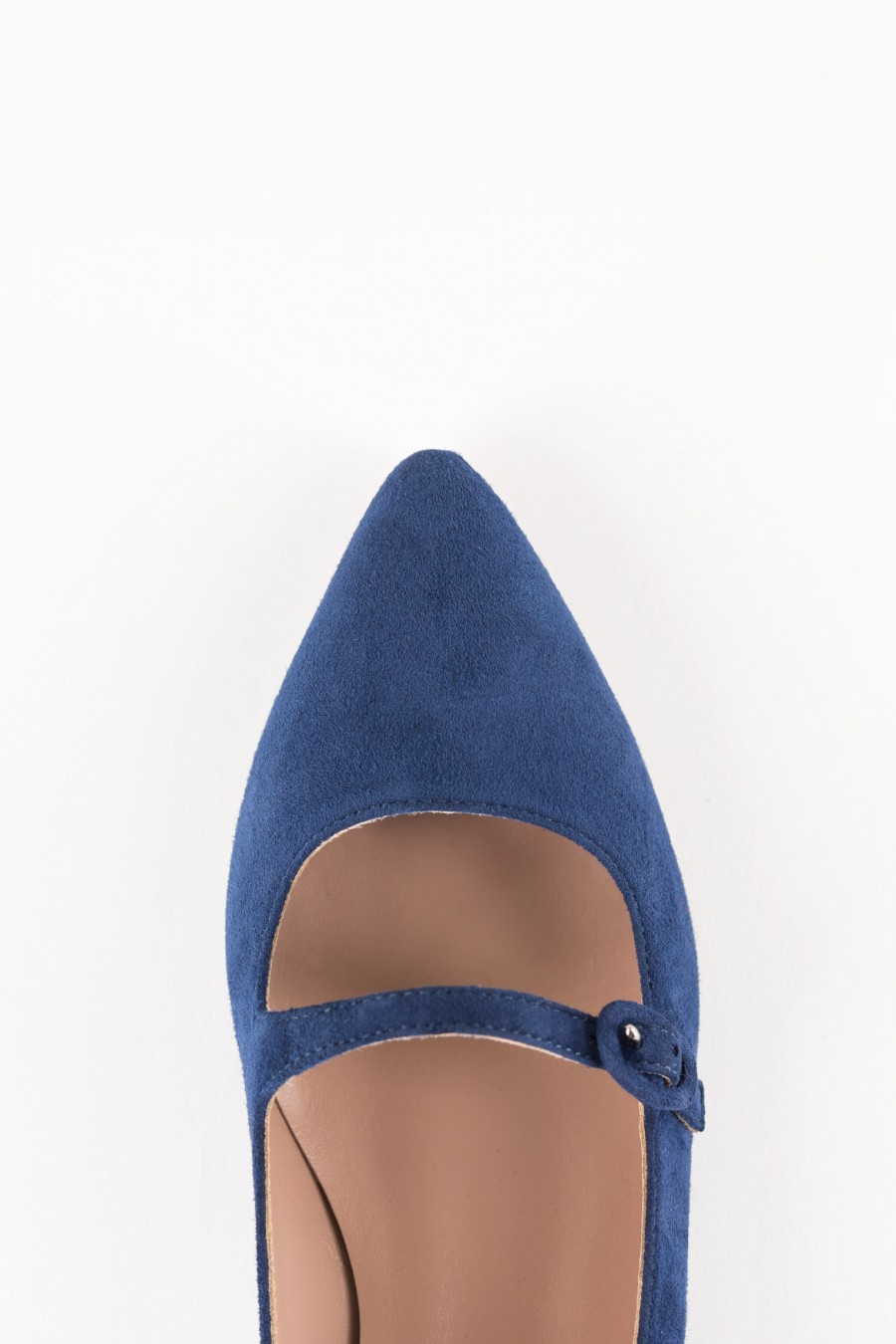 Blue suede pointy flats