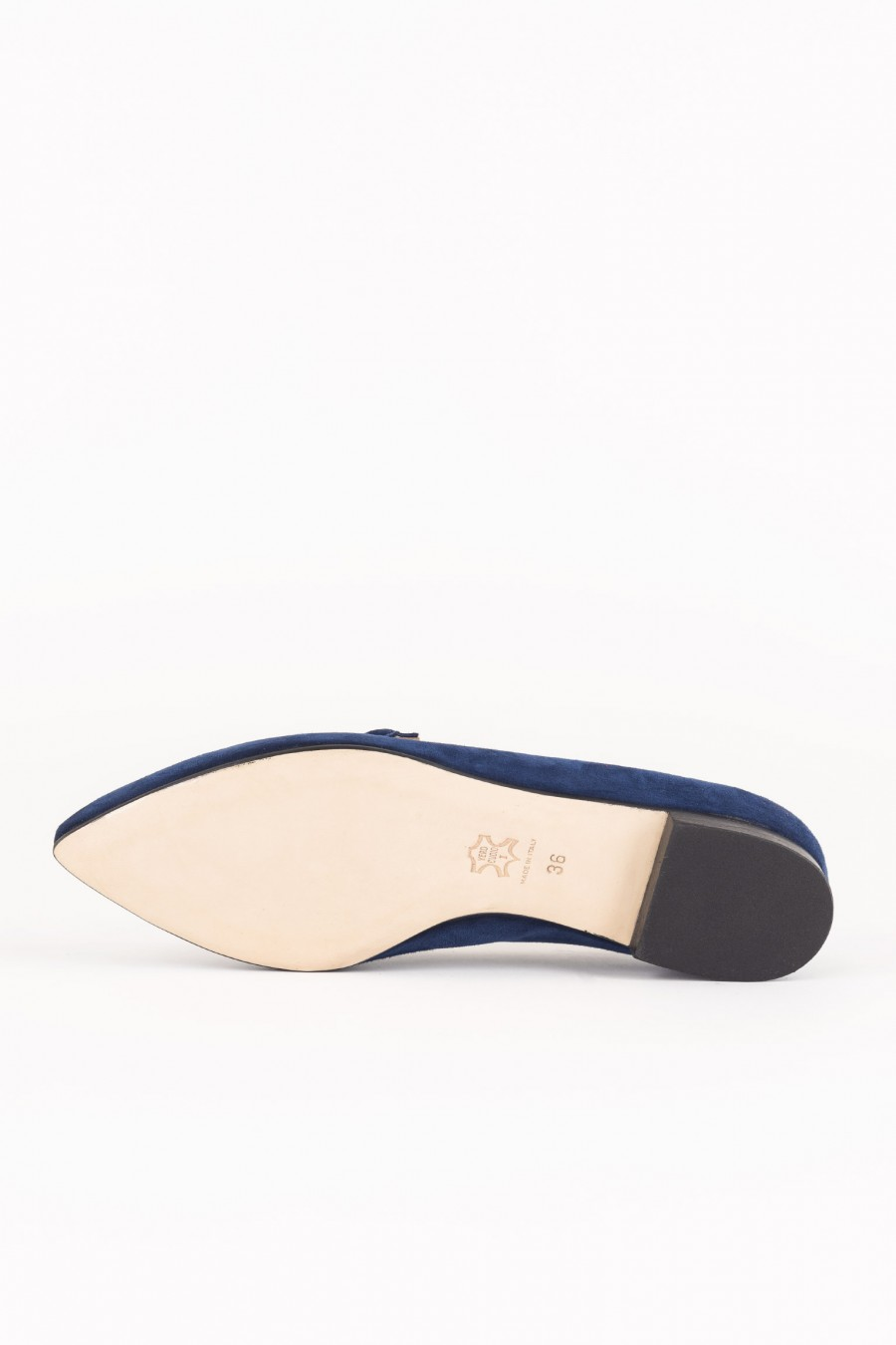 Blue pointy flats