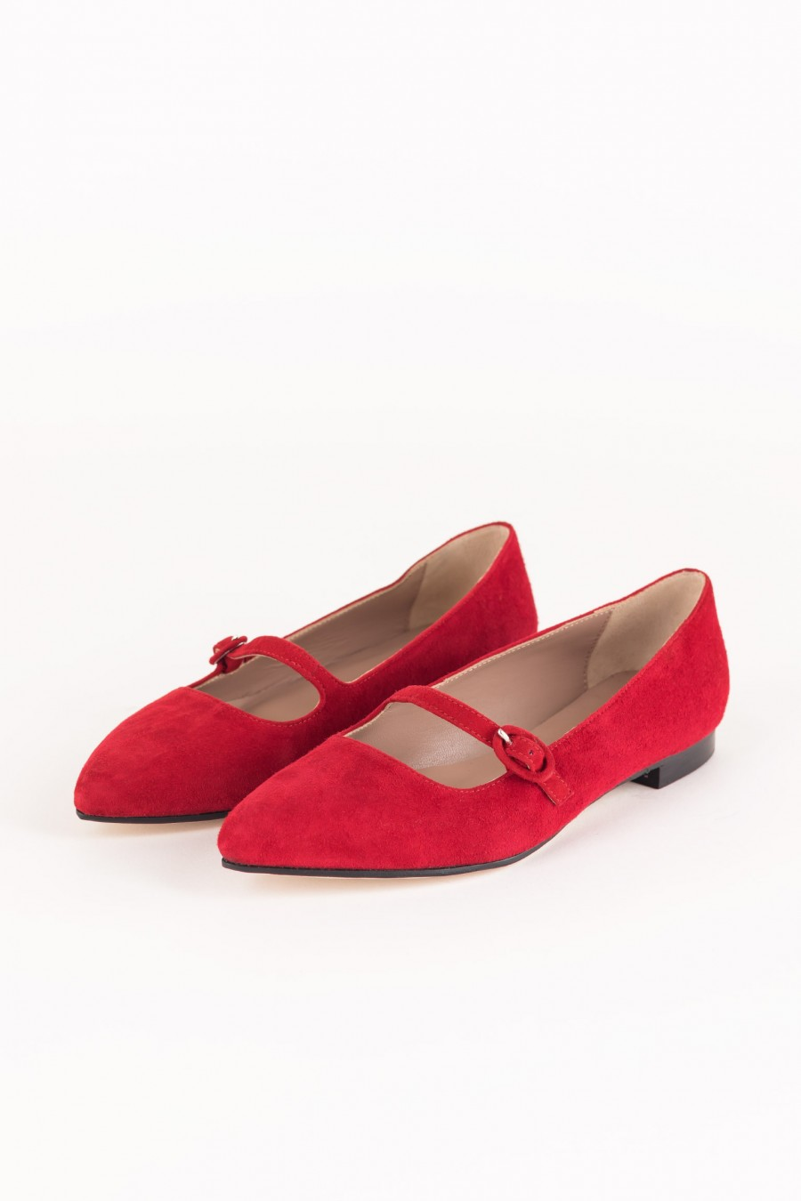 Red suede pointy flats