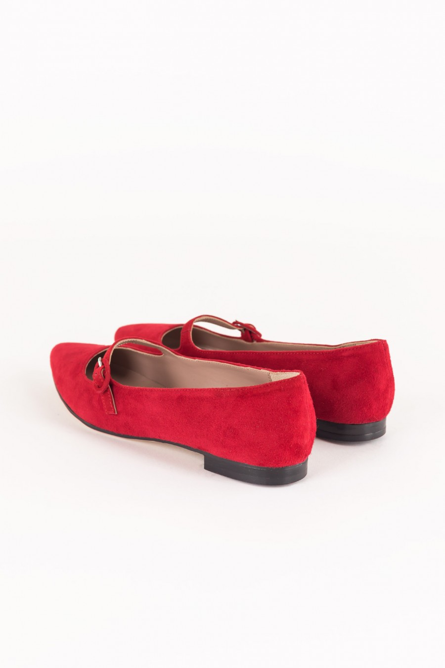 Red suede pointy flats with buckle