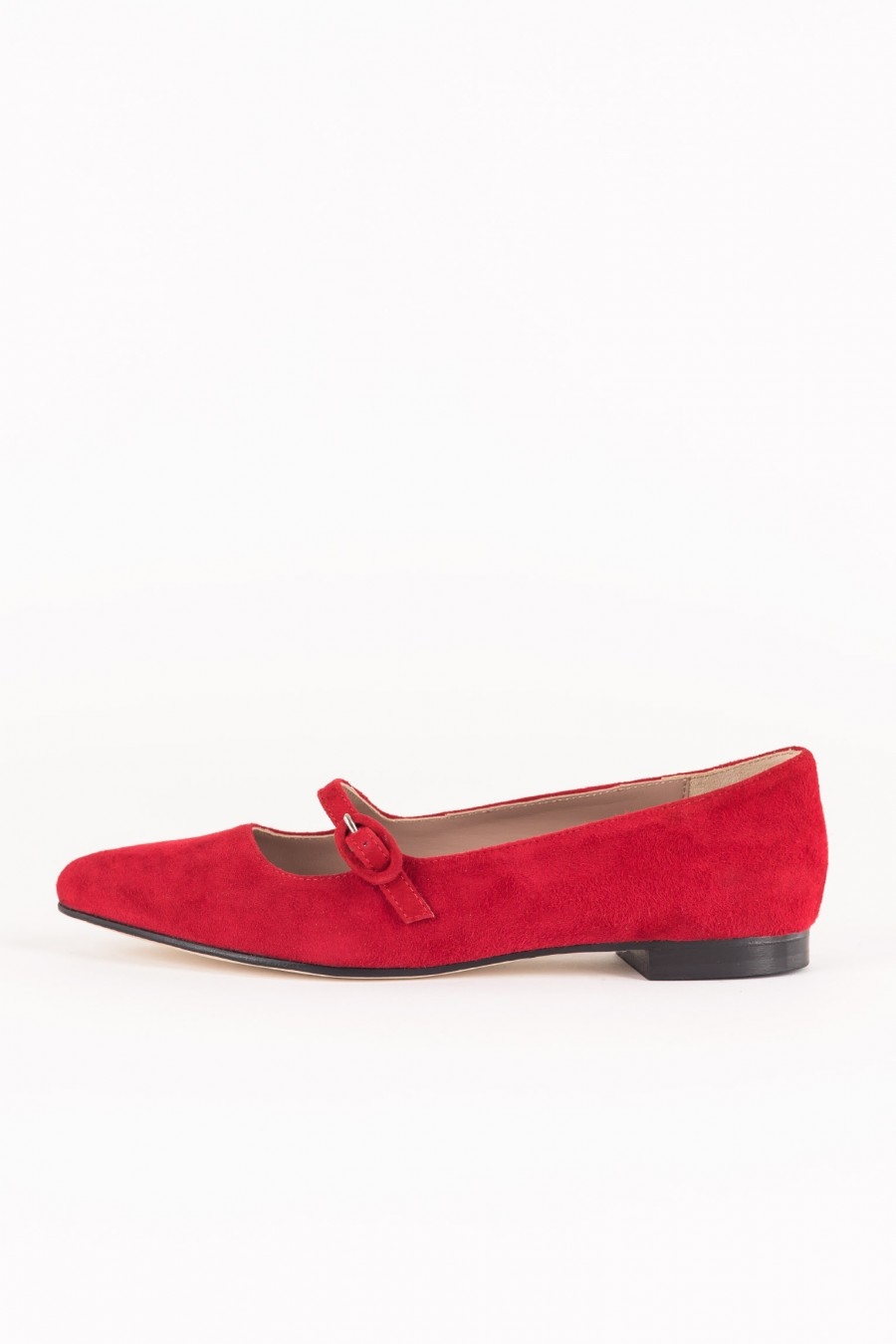 Red pointy flats
