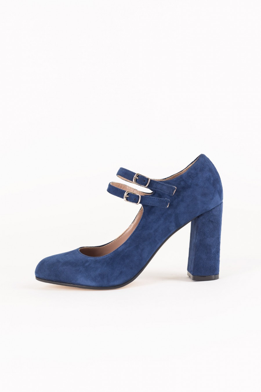Blue suede Mary Jane with double buckle