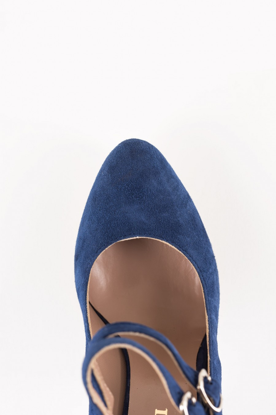 Blue suede Mary Jane double buckle