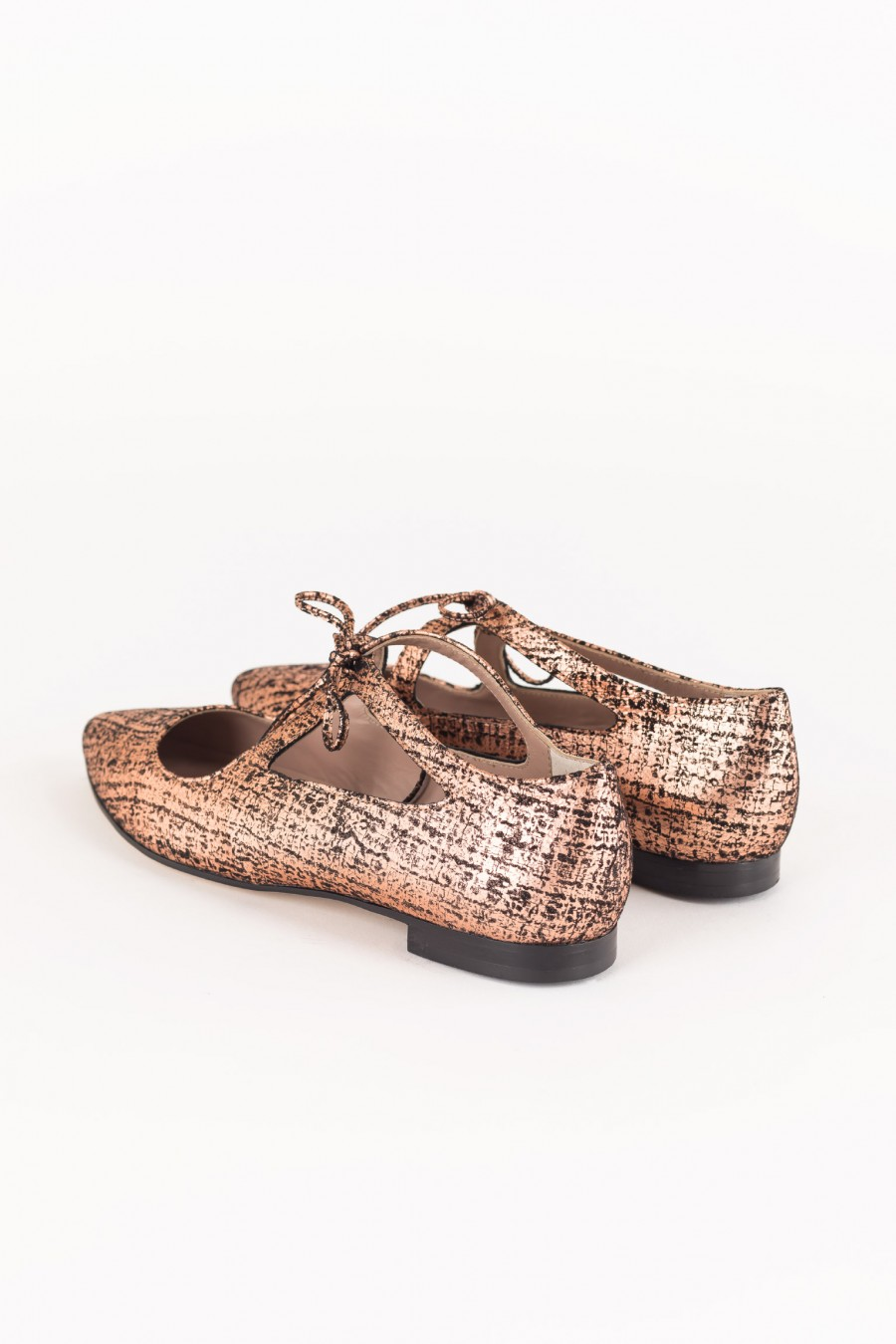 Pointy copper flats with laces