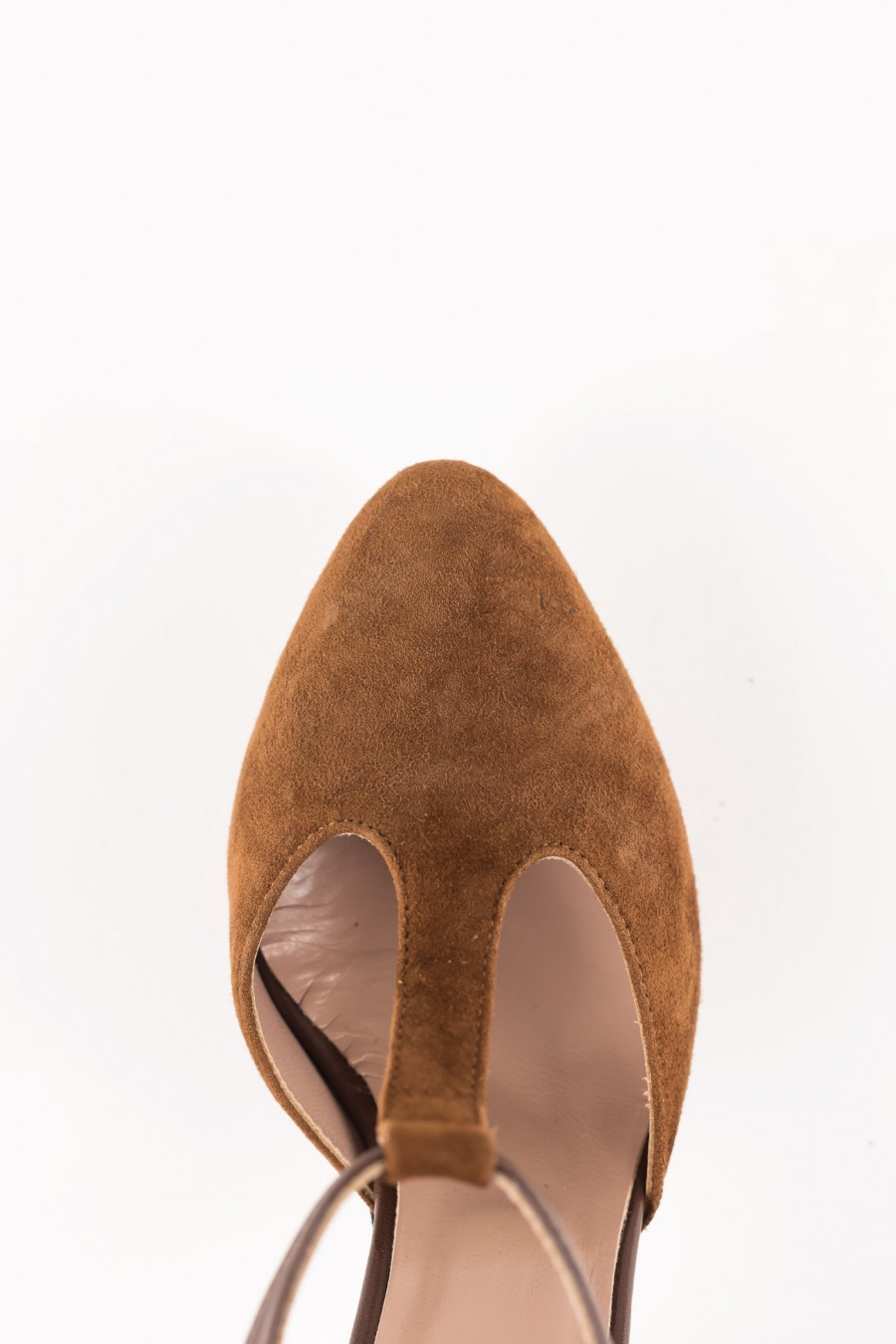 Suede heels with t strap