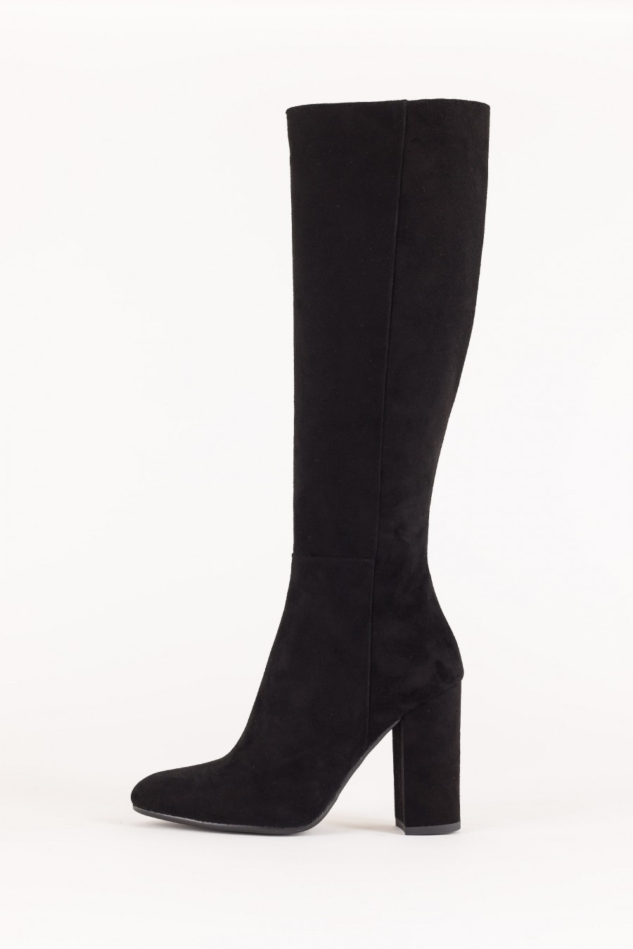 Black suede boots with high heels