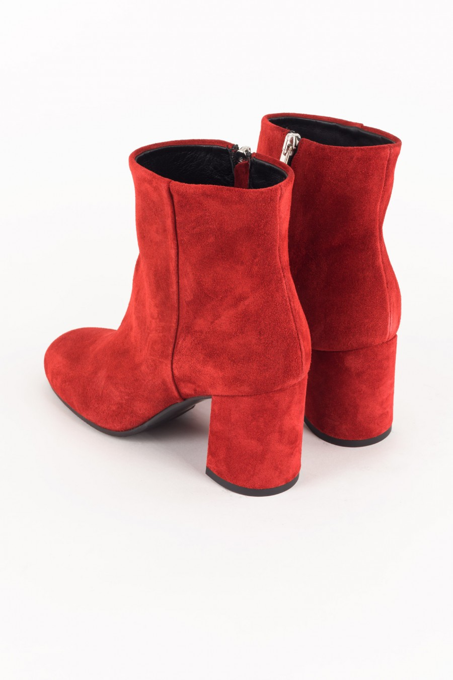 Side zipper red boots
