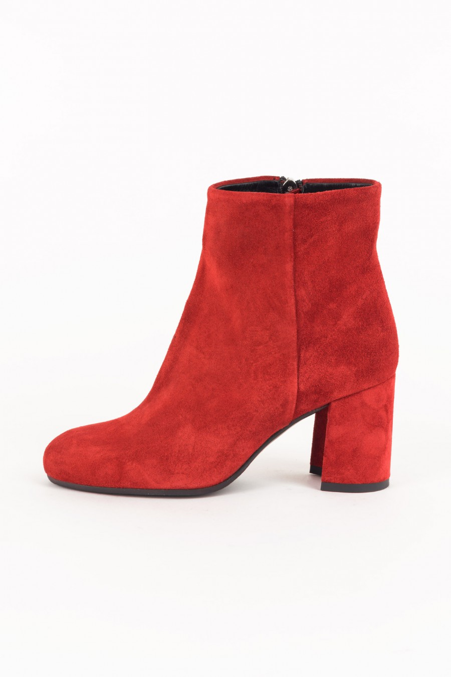 Red suede boots with zip