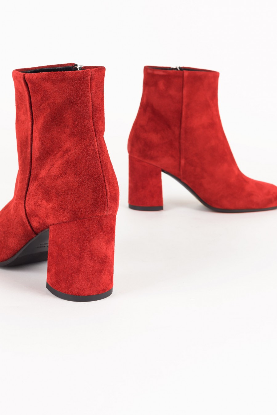Red suede boots with zipper