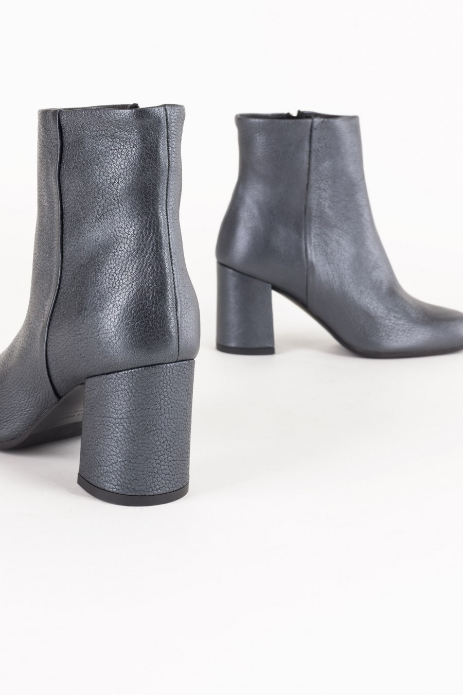 Side zip grey leather boots