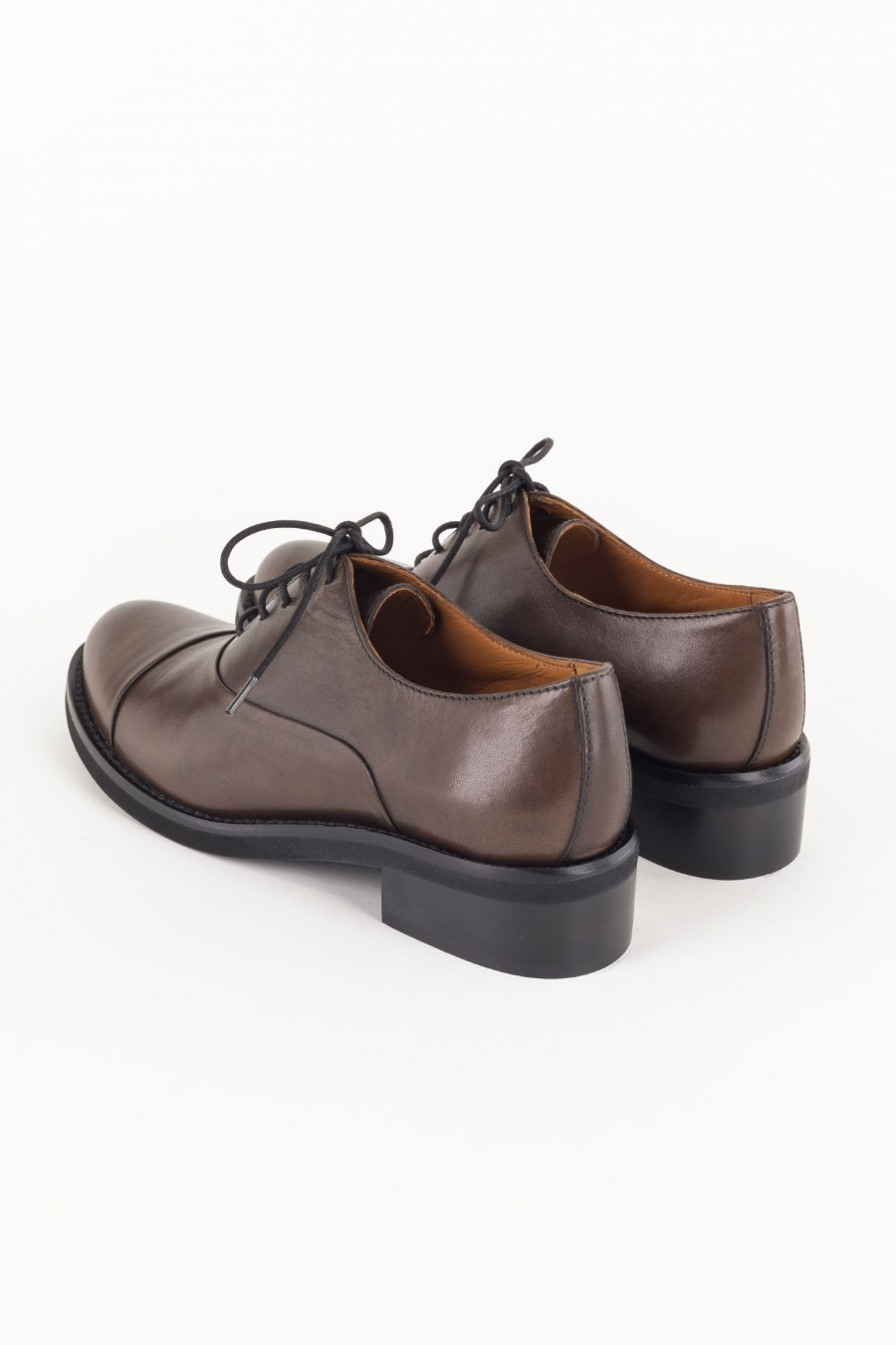 Laced brown derby shoes