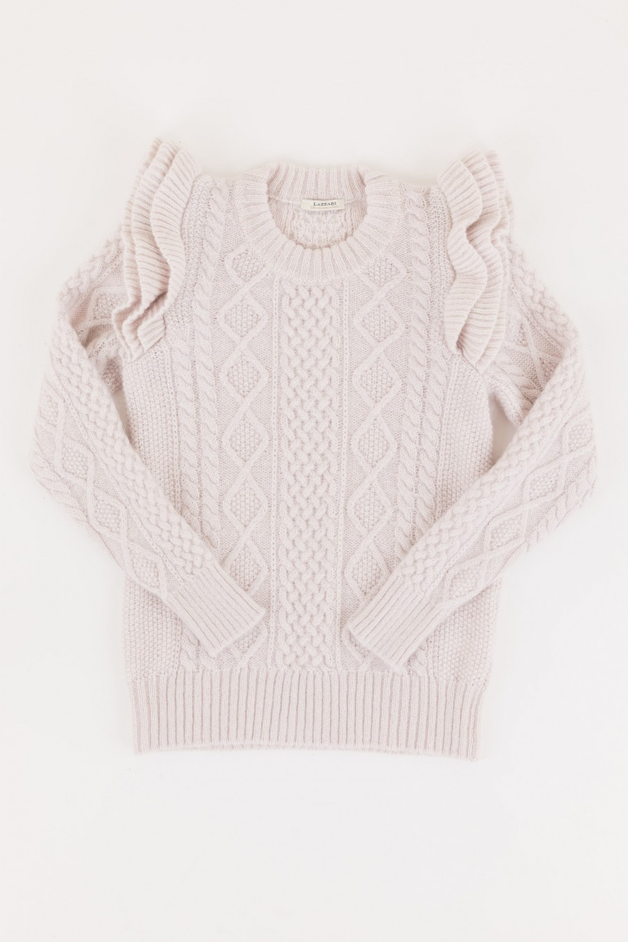 White jumper with ruffles