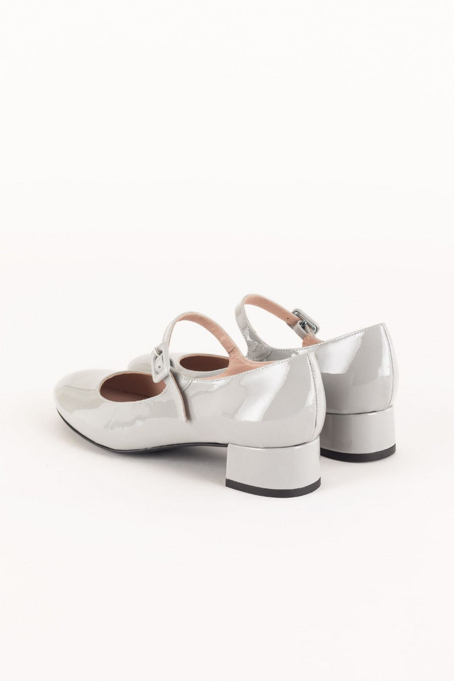 Grey patent Mary Jane with buckle