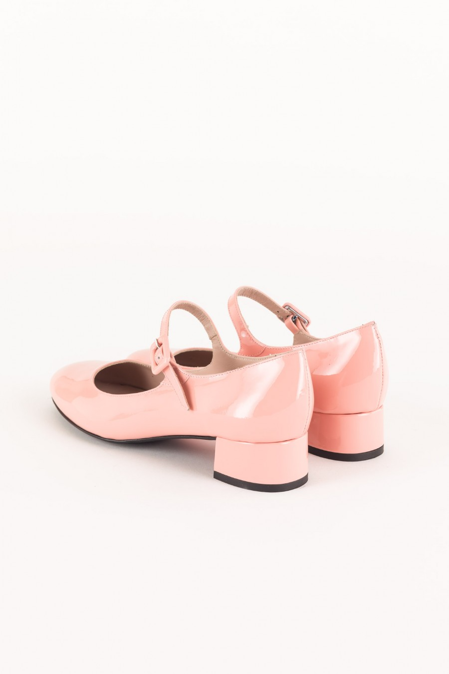 Pink patent Mary Jane with buckle