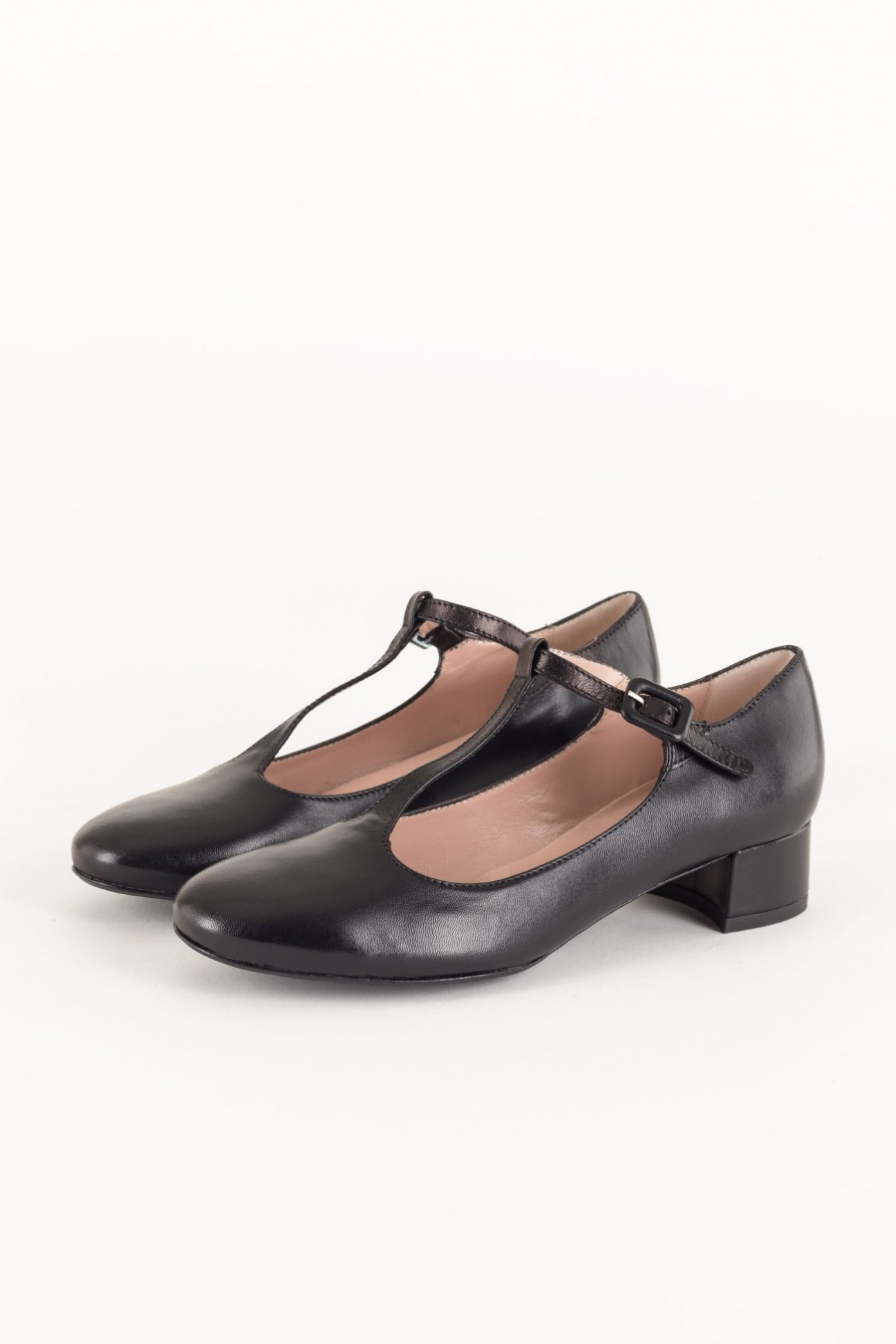 Black flats with T strap