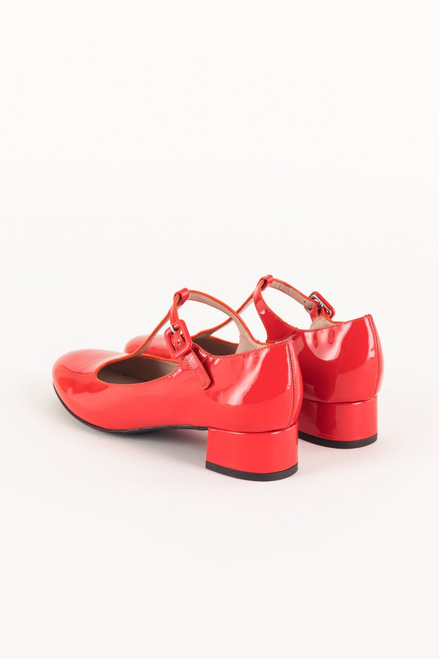 Red flats with t strap