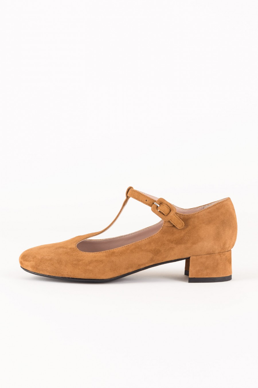 Brown suede t strap flats
