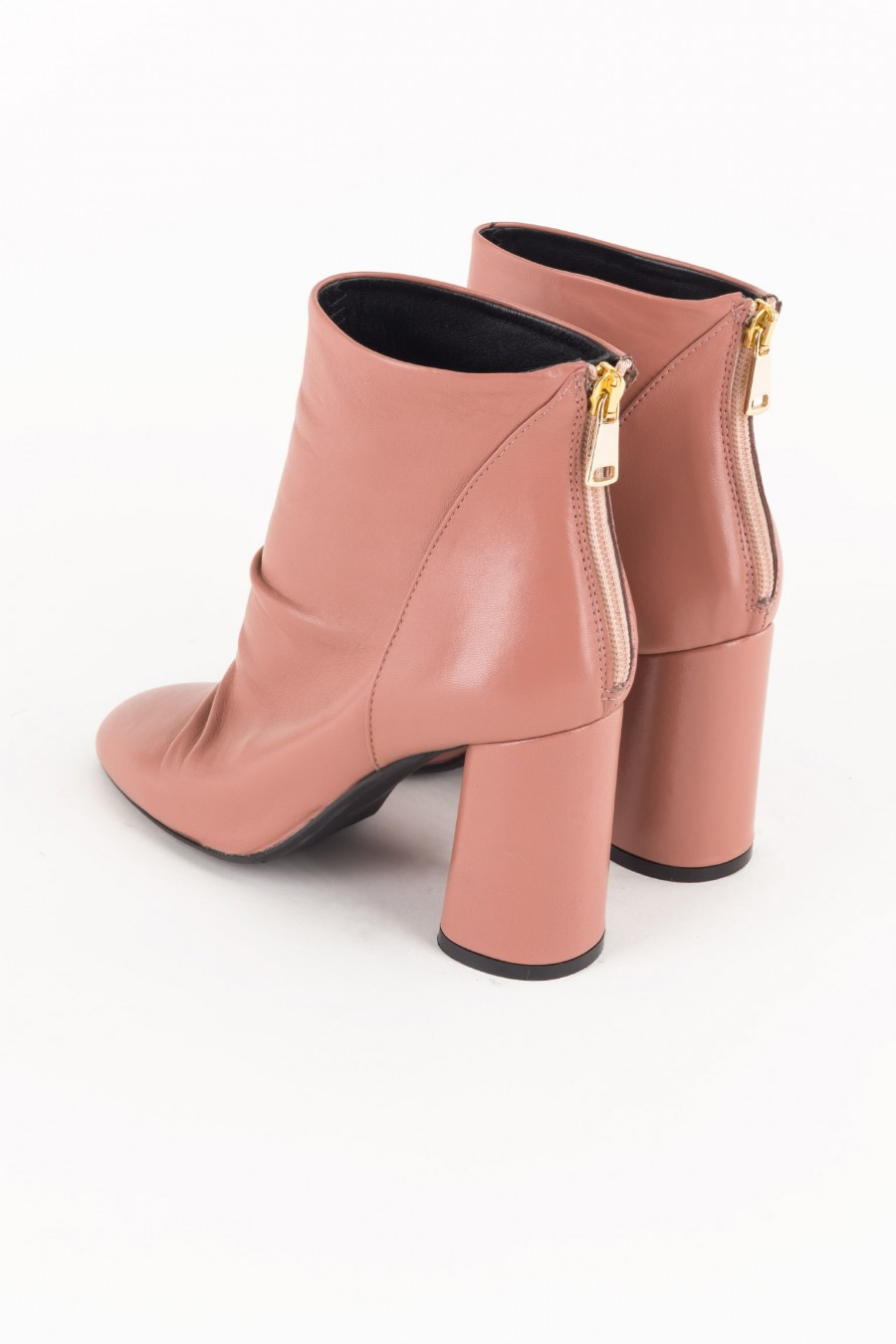 Pink boots with rounded heels