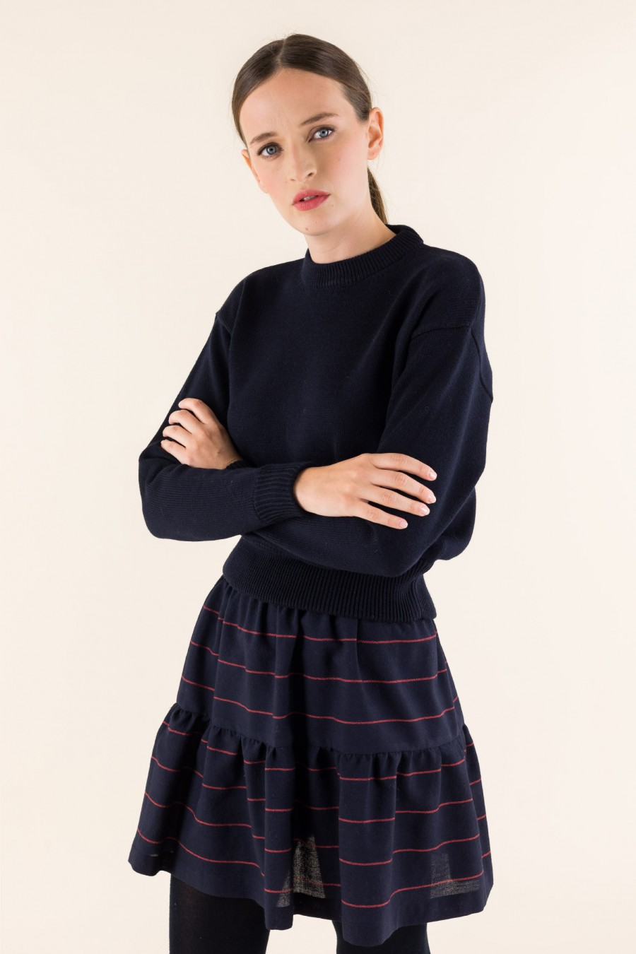 Black sweater with wide sleeves