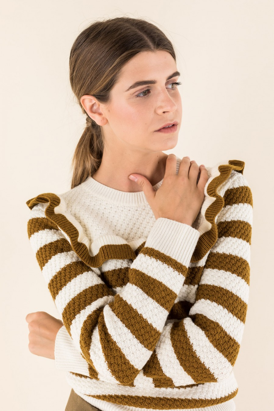 Striped jumper with ruffle