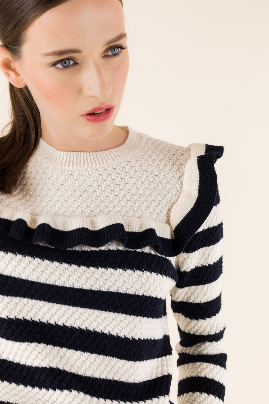 Black and white striped jumper