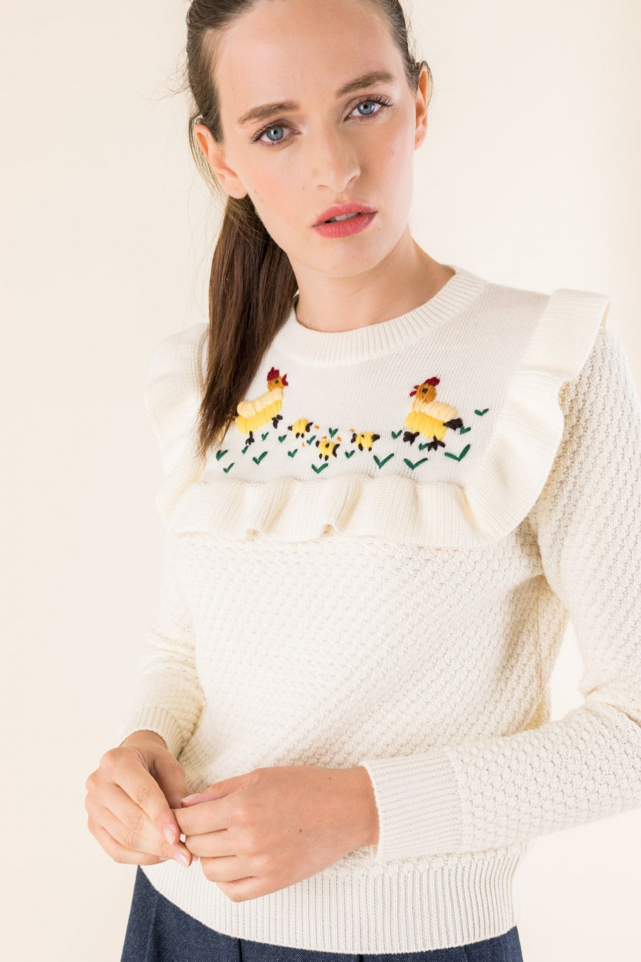 embroidered white jumper