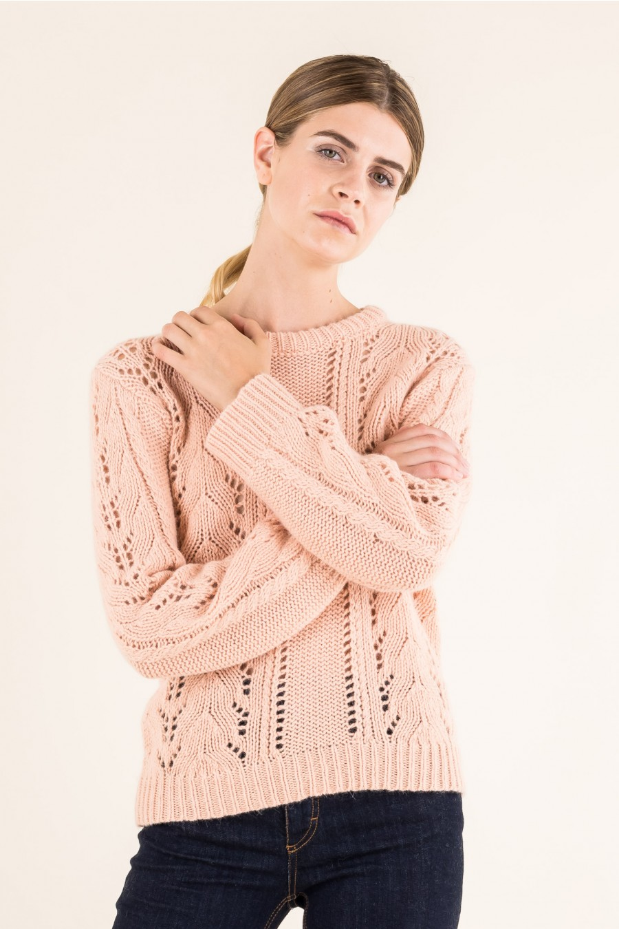 Openwork jumper in alpaca