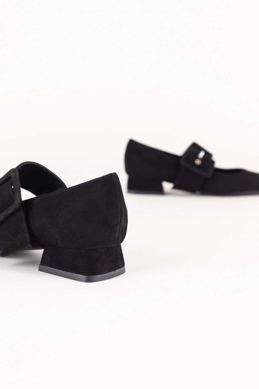 Suede black Mary Jane with buckle